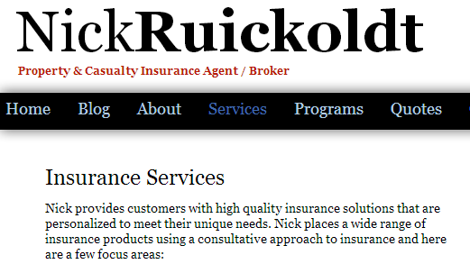 nickruickoldtservices1 Tips On Basic Information For Your Websites for Insurance Agents